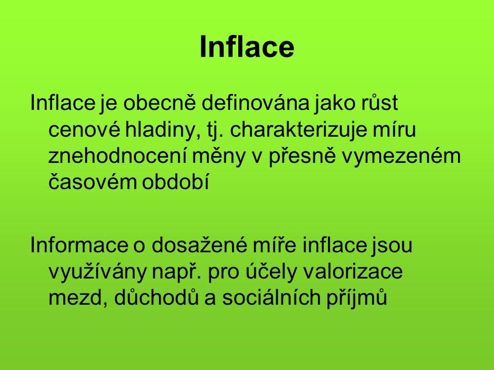 Inflace Inflace je obecně definována jako růst cenové hladiny, tj. charakterizuje míru znehodnocení měny v přesně vymezeném časovém období.
