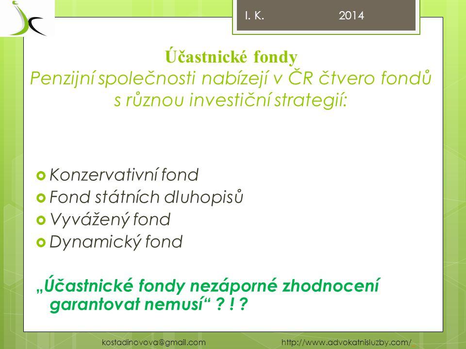 I. K. 2014 Účastnické fondy Penzijní společnosti nabízejí v ČR čtvero fondů s různou investiční strategií:
