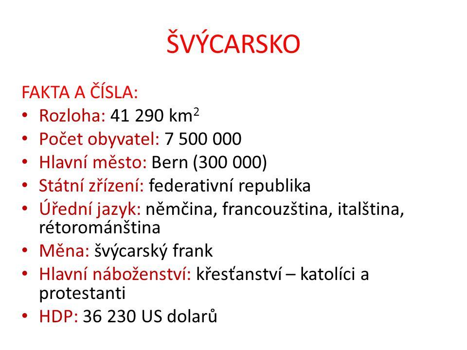 ŠVÝCARSKO FAKTA A ČÍSLA: Rozloha: 41 290 km2 Počet obyvatel: 7 500 000