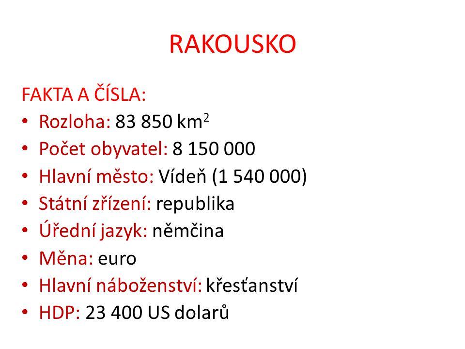 RAKOUSKO FAKTA A ČÍSLA: Rozloha: 83 850 km2 Počet obyvatel: 8 150 000
