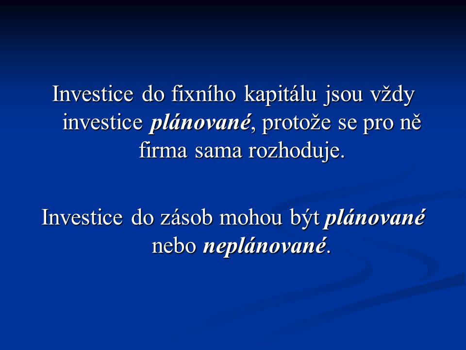 Investice do zásob mohou být plánované nebo neplánované.