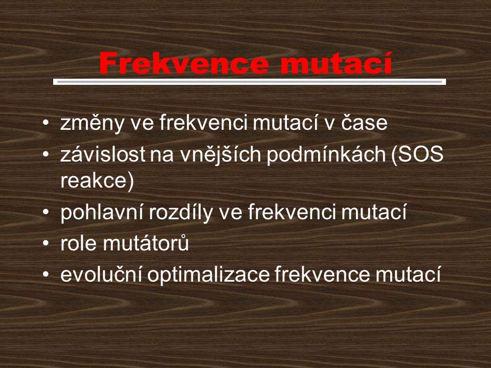Frekvence mutací změny ve frekvenci mutací v čase