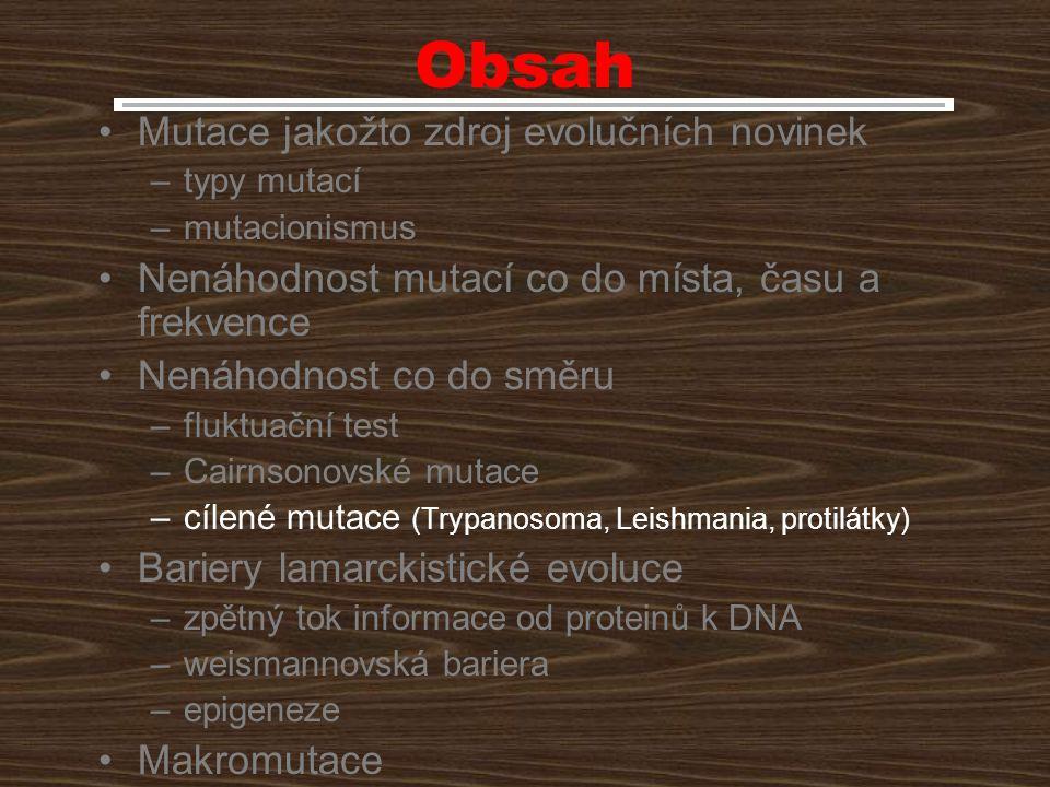 Obsah Mutace jakožto zdroj evolučních novinek
