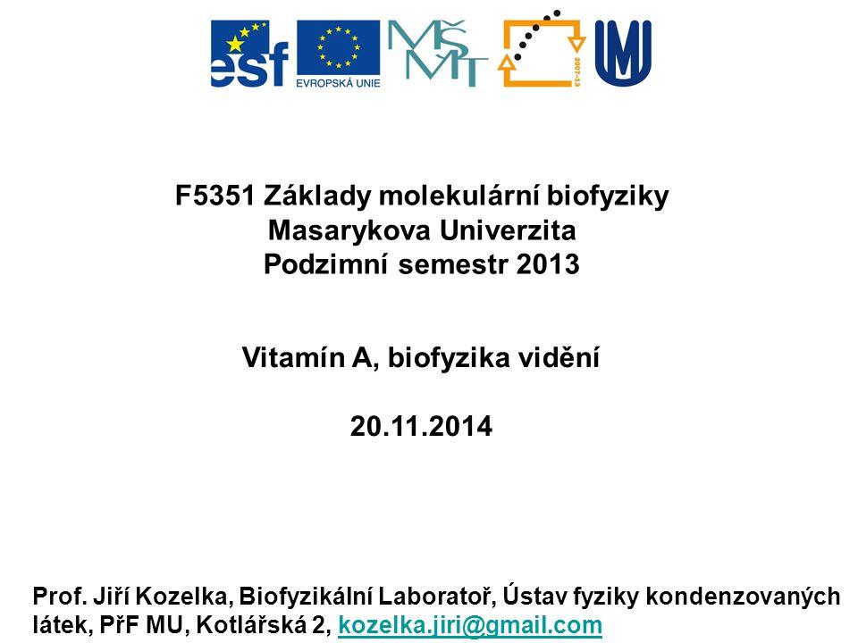 F5351 Základy molekulární biofyziky Masarykova Univerzita