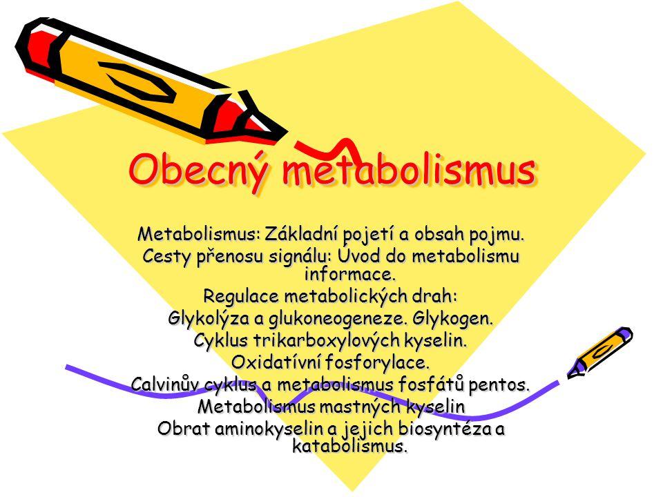 Obecný metabolismus Metabolismus: Základní pojetí a obsah pojmu.
