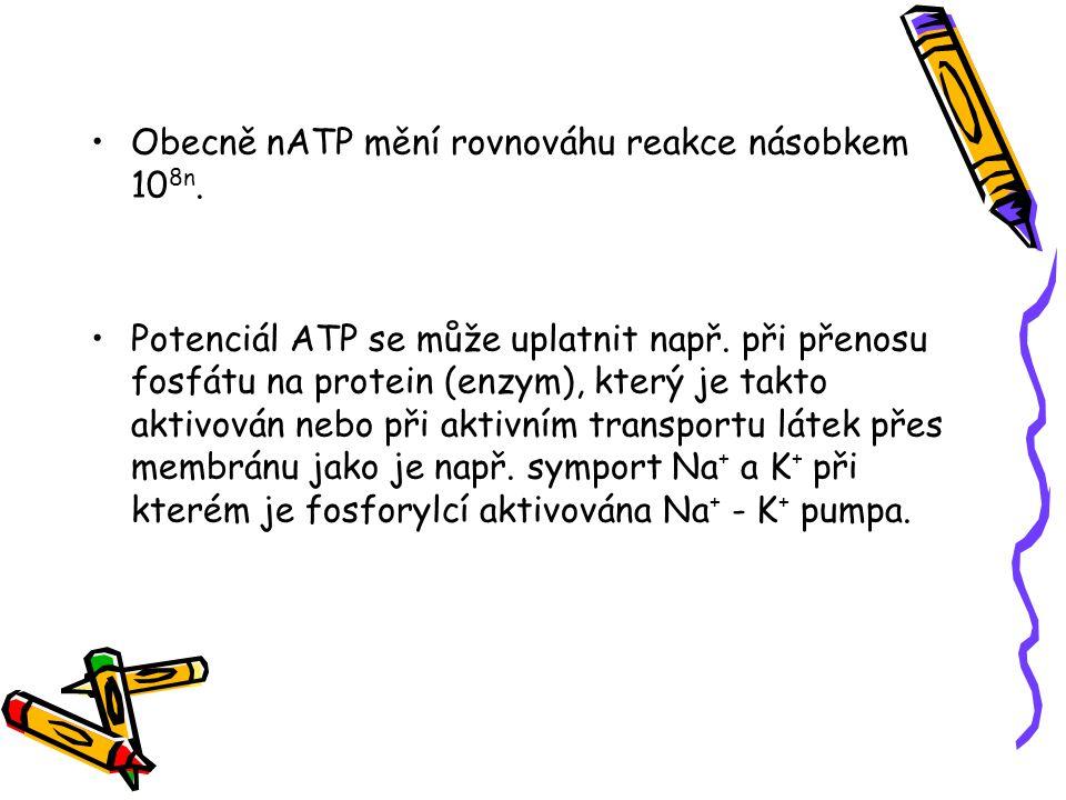 Obecně nATP mění rovnováhu reakce násobkem 108n.