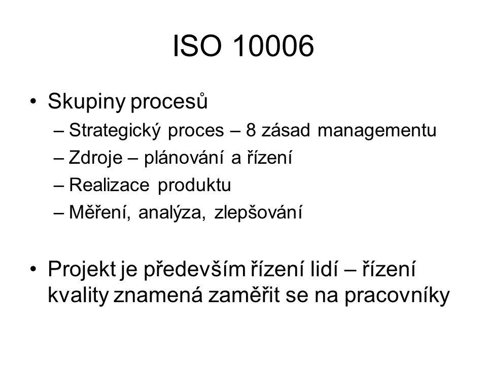 ISO 10006 Skupiny procesů. Strategický proces – 8 zásad managementu. Zdroje – plánování a řízení.