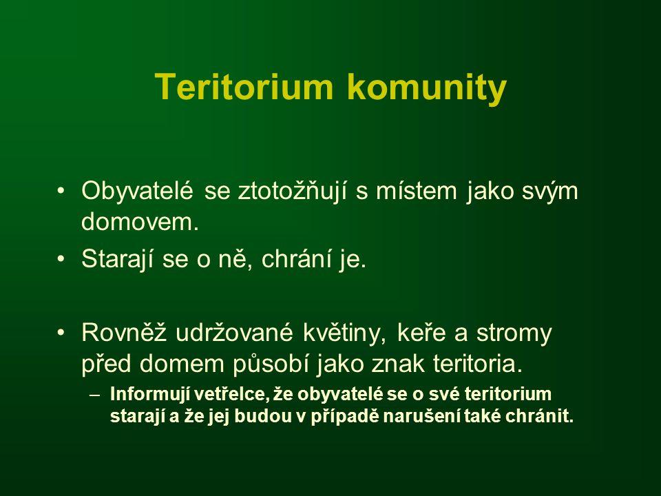 Teritorium komunity Obyvatelé se ztotožňují s místem jako svým domovem. Starají se o ně, chrání je.