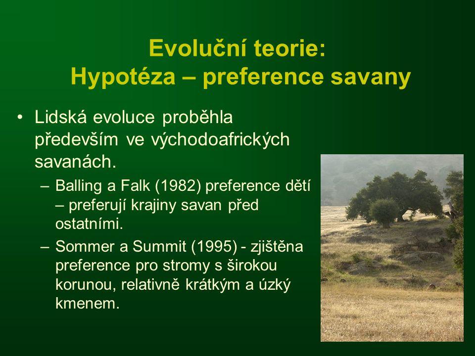Evoluční teorie: Hypotéza – preference savany