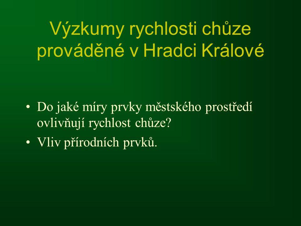 Výzkumy rychlosti chůze prováděné v Hradci Králové
