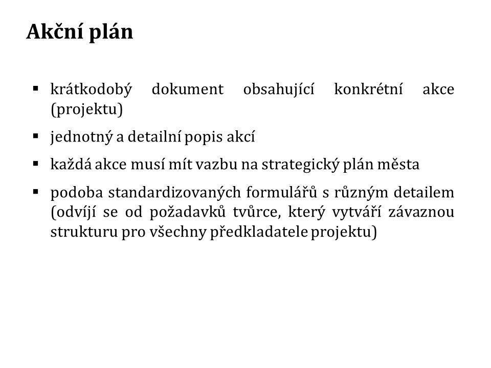 Akční plán krátkodobý dokument obsahující konkrétní akce (projektu)