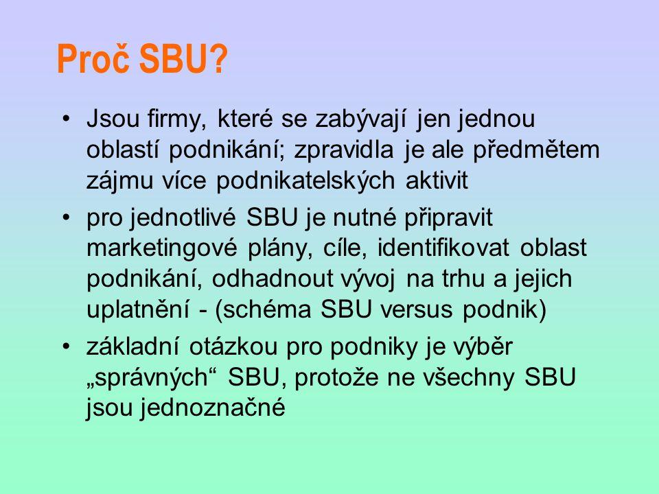 Proč SBU Jsou firmy, které se zabývají jen jednou oblastí podnikání; zpravidla je ale předmětem zájmu více podnikatelských aktivit.