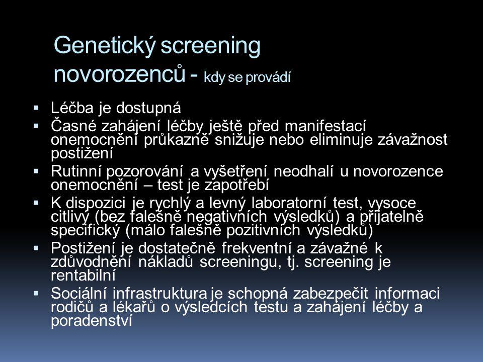 Genetický screening novorozenců - kdy se provádí