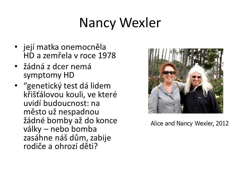 Nancy Wexler její matka onemocněla HD a zemřela v roce 1978
