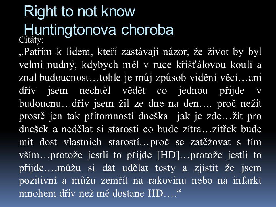 Right to not know Huntingtonova choroba