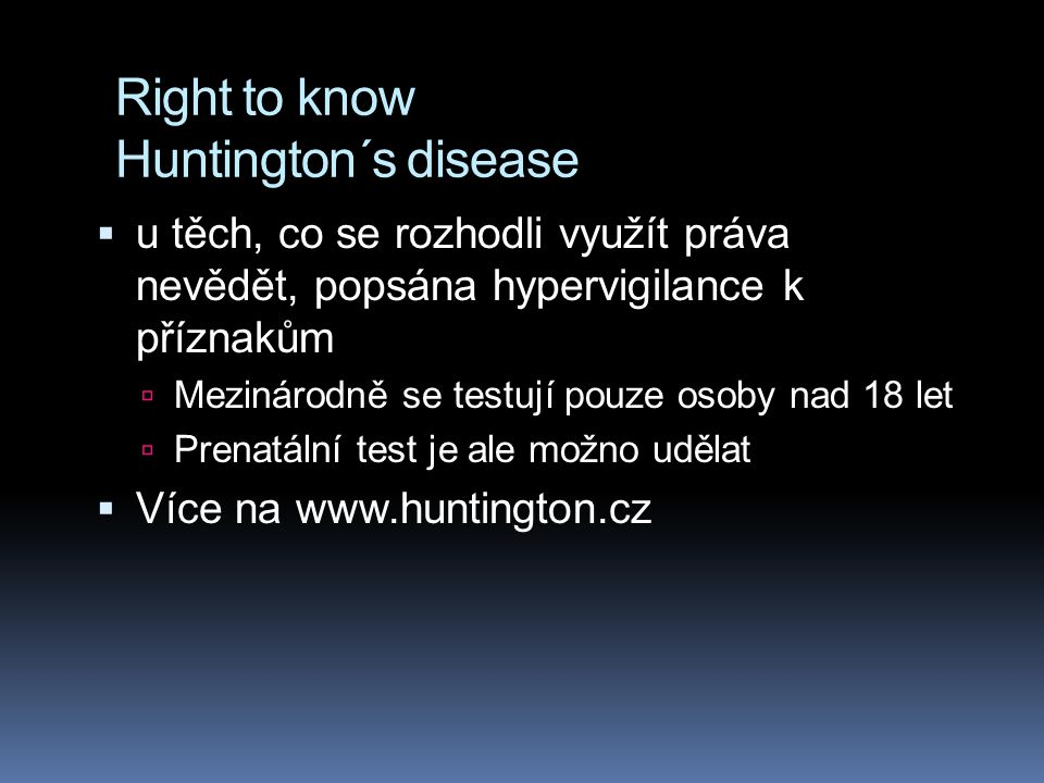Right to know Huntington´s disease