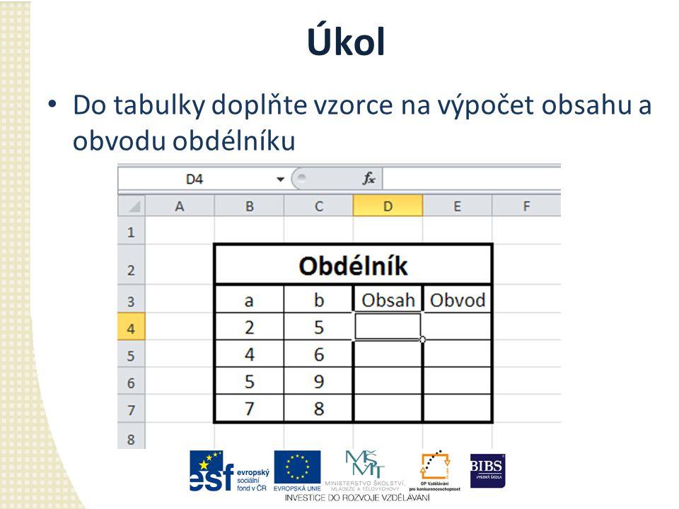 Úkol Do tabulky doplňte vzorce na výpočet obsahu a obvodu obdélníku