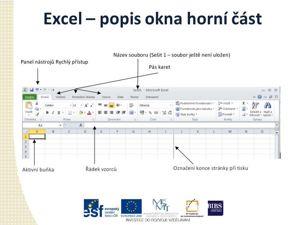 Excel – popis okna horní část