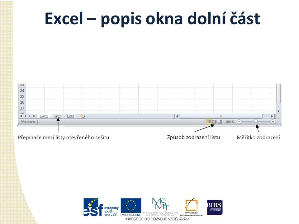 Excel – popis okna dolní část