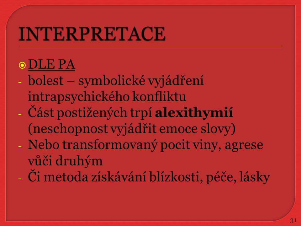 INTERPRETACE DLE PA. bolest – symbolické vyjádření intrapsychického konfliktu. Část postižených trpí alexithymií (neschopnost vyjádřit emoce slovy)