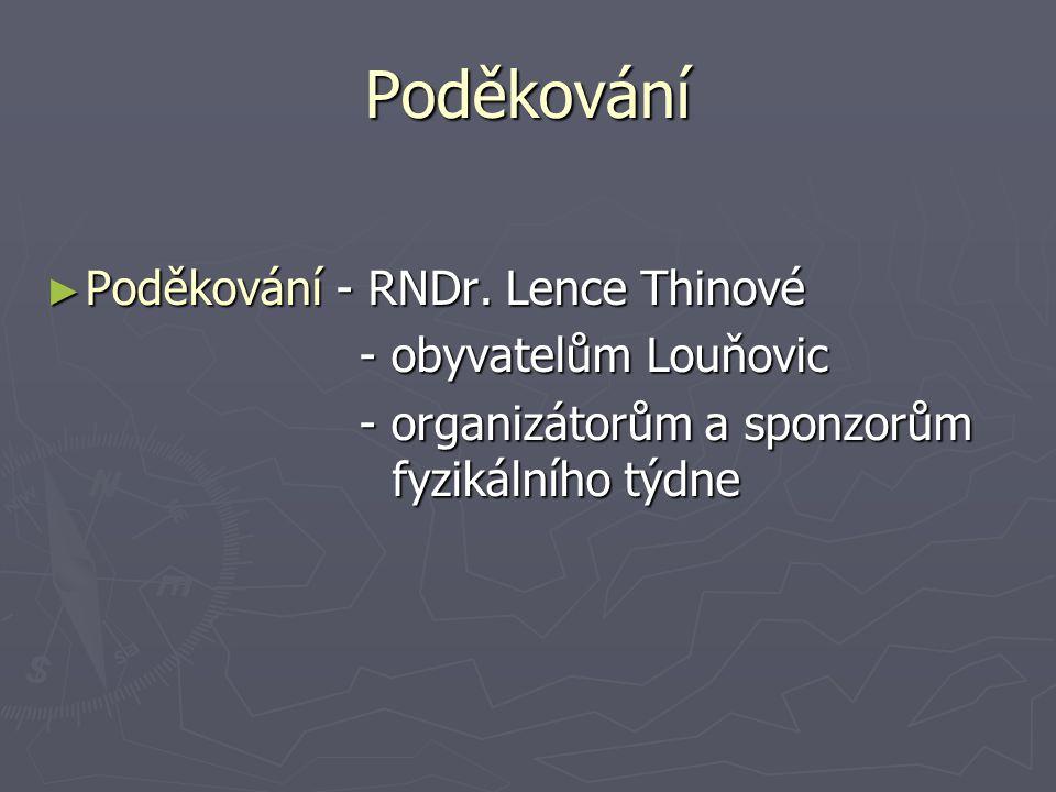 Poděkování Poděkování - RNDr. Lence Thinové - obyvatelům Louňovic