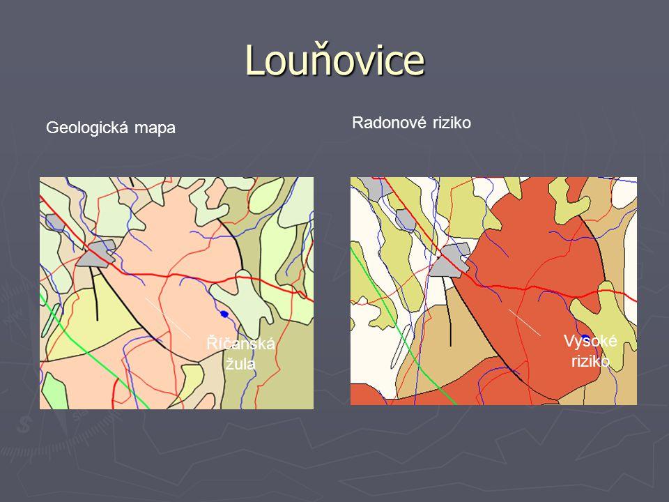 Louňovice Radonové riziko Geologická mapa Říčanská žula Vysoké riziko
