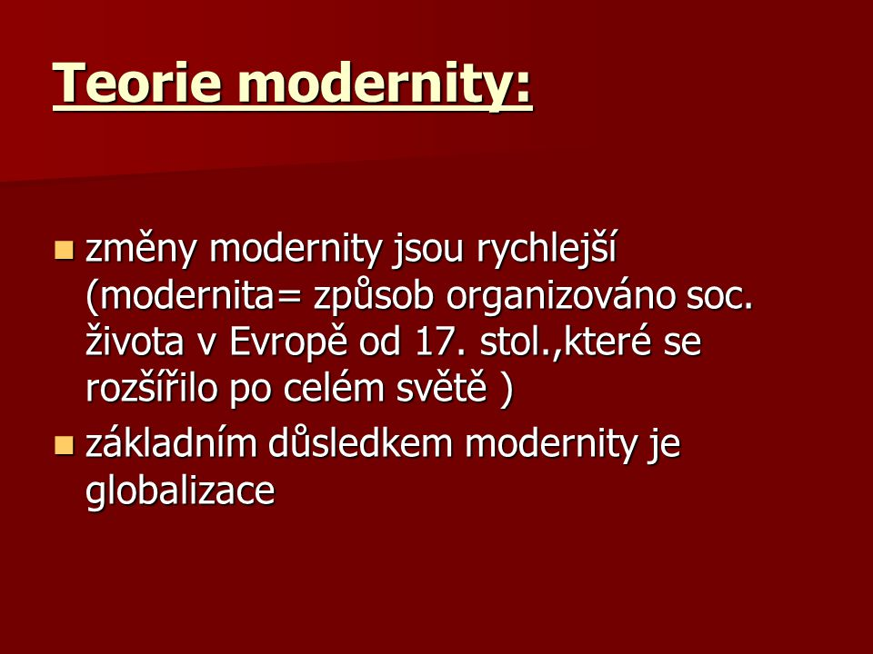 Teorie modernity:
