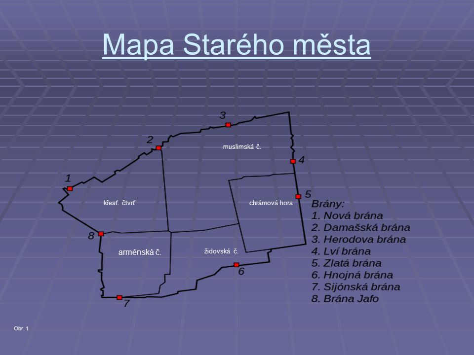 Mapa Starého města arménská č. muslimská č. křesť. čtvrť chrámová hora