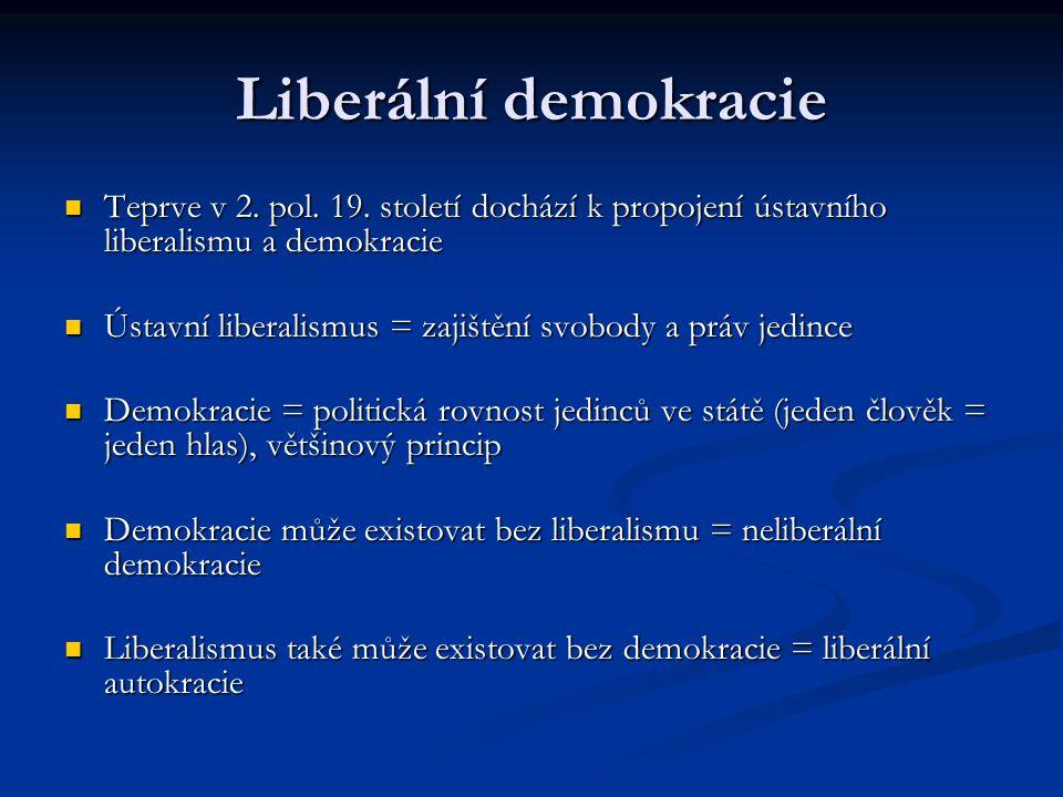 Liberální demokracie Teprve v 2. pol. 19. století dochází k propojení ústavního liberalismu a demokracie.