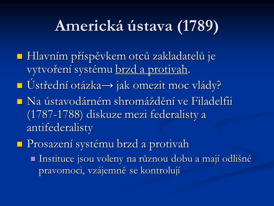 Americká ústava (1789) Hlavním příspěvkem otců zakladatelů je vytvoření systému brzd a protivah. Ústřední otázka→ jak omezit moc vlády