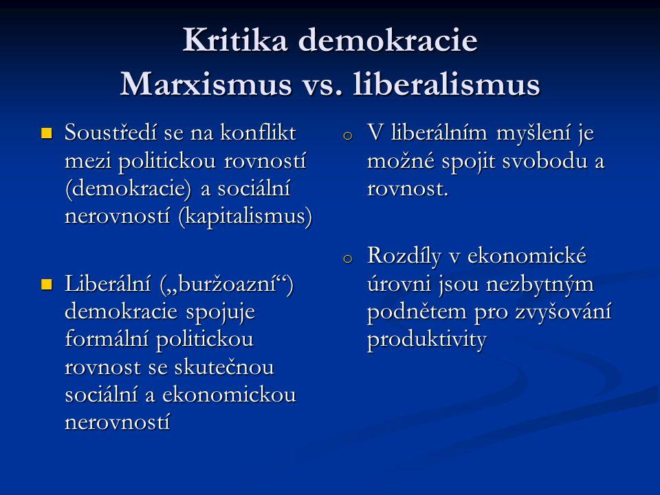 Kritika demokracie Marxismus vs. liberalismus