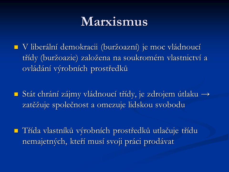 Marxismus V liberální demokracii (buržoazní) je moc vládnoucí třídy (buržoazie) založena na soukromém vlastnictví a ovládání výrobních prostředků.