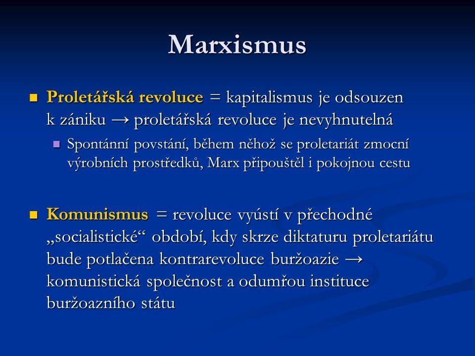 Marxismus Proletářská revoluce = kapitalismus je odsouzen k zániku → proletářská revoluce je nevyhnutelná.