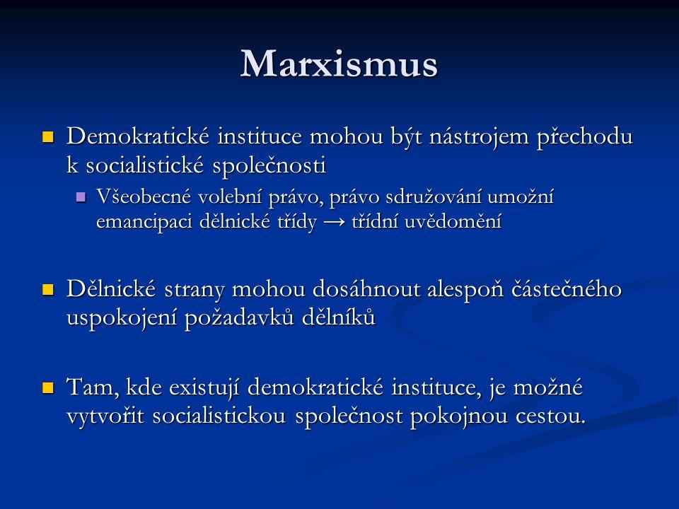Marxismus Demokratické instituce mohou být nástrojem přechodu k socialistické společnosti.