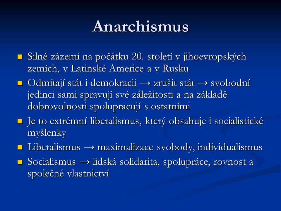 Anarchismus Silné zázemí na počátku 20. století v jihoevropských zemích, v Latinské Americe a v Rusku.