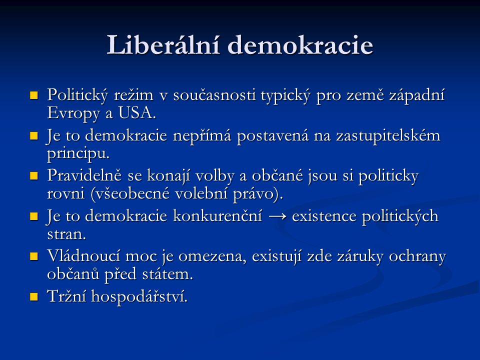 Liberální demokracie Politický režim v současnosti typický pro země západní Evropy a USA.