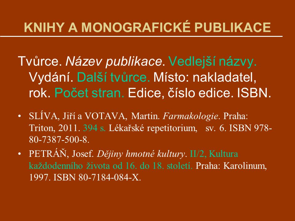 KNIHY A MONOGRAFICKÉ PUBLIKACE