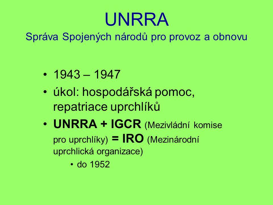 UNRRA Správa Spojených národů pro provoz a obnovu