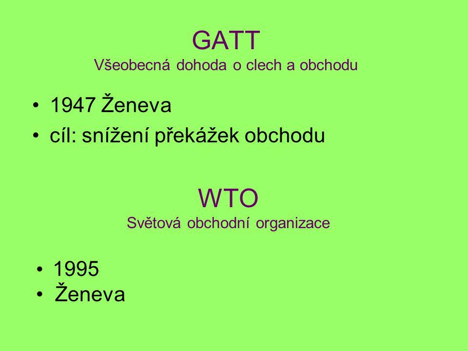 GATT Všeobecná dohoda o clech a obchodu