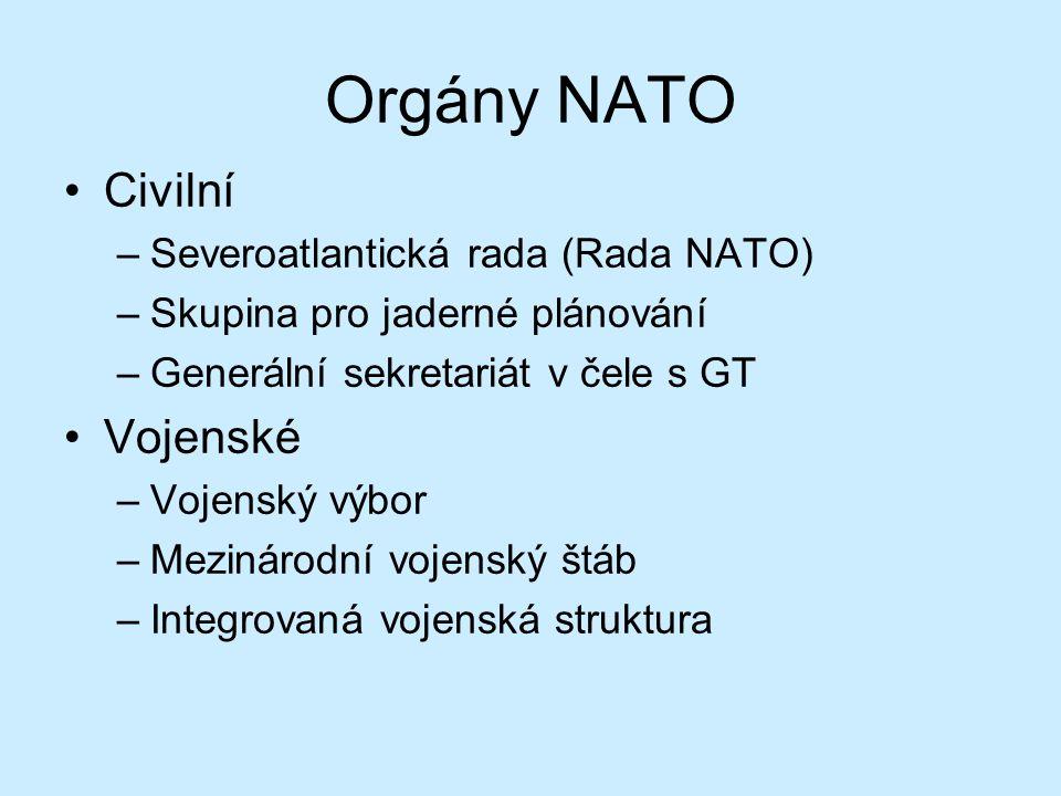 Orgány NATO Civilní Vojenské Severoatlantická rada (Rada NATO)