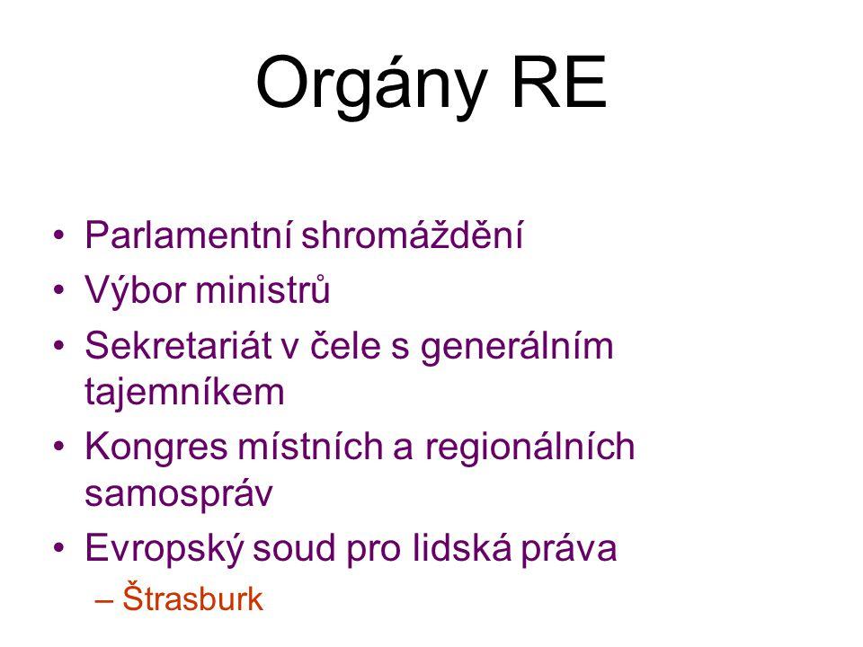 Orgány RE Parlamentní shromáždění Výbor ministrů
