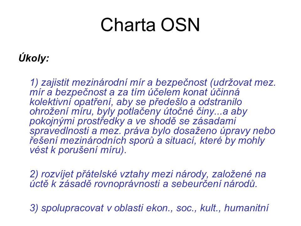 Charta OSN Úkoly: