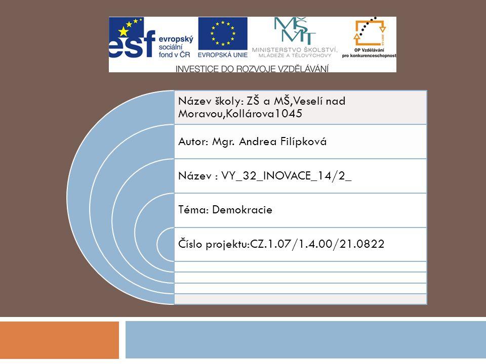 Název školy: ZŠ a MŠ,Veselí nad Moravou,Kollárova1045