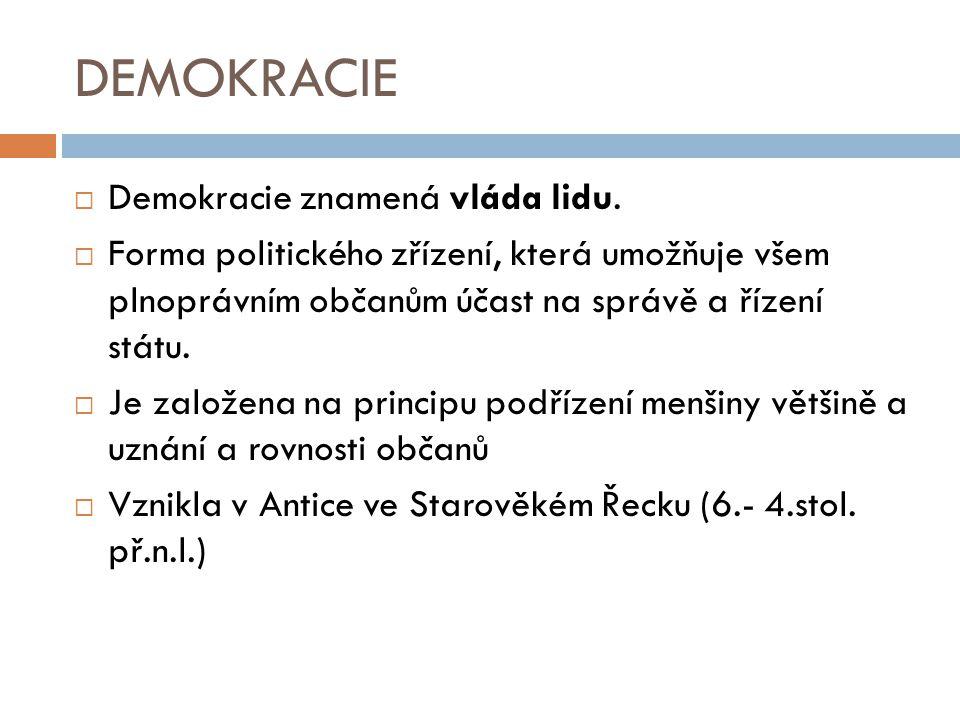 DEMOKRACIE Demokracie znamená vláda lidu.
