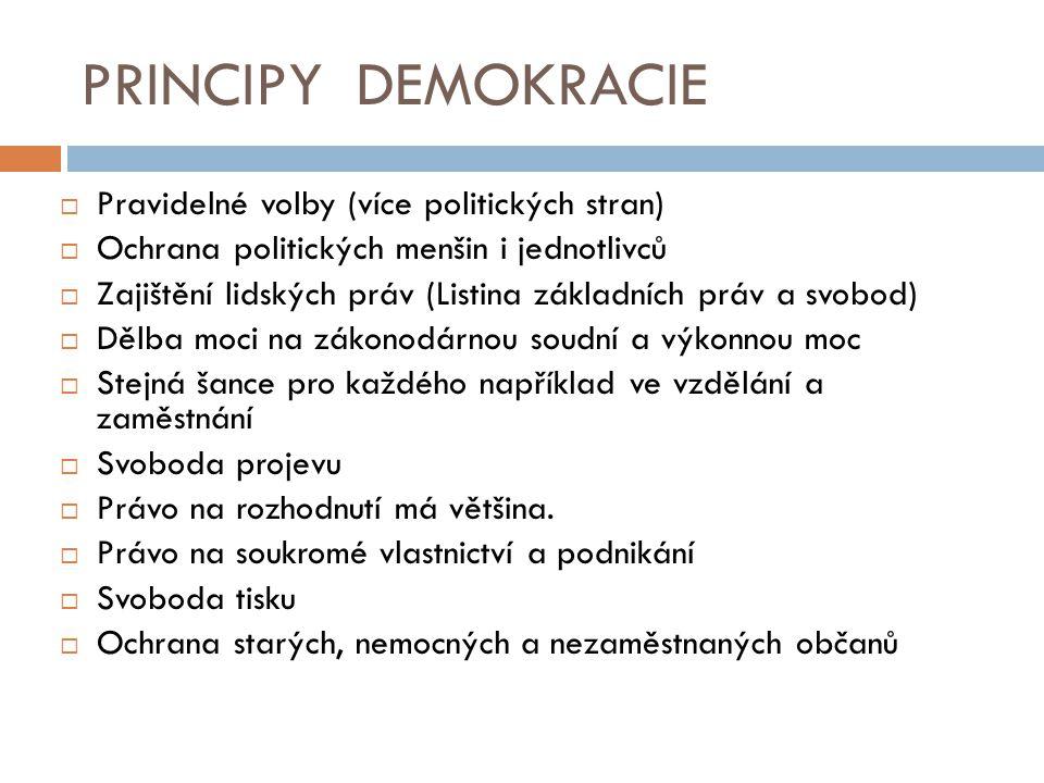 PRINCIPY DEMOKRACIE Pravidelné volby (více politických stran)
