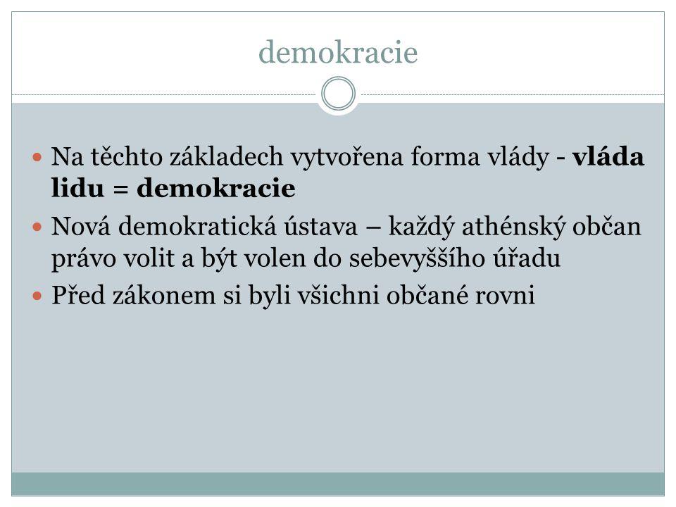 demokracie Na těchto základech vytvořena forma vlády - vláda lidu = demokracie.