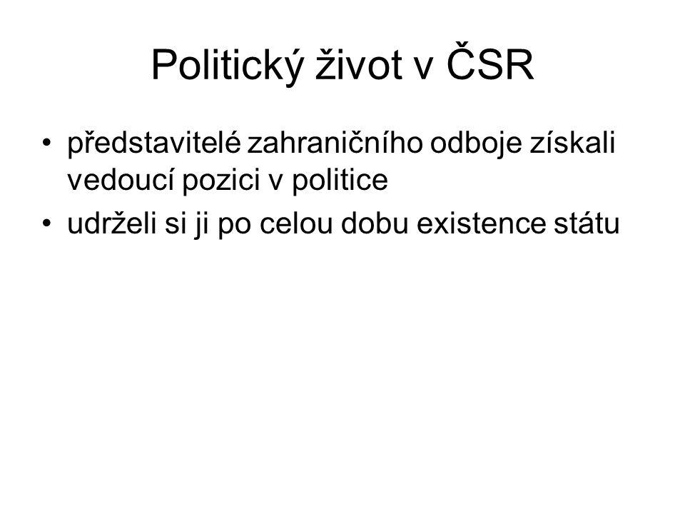 Politický život v ČSR představitelé zahraničního odboje získali vedoucí pozici v politice.