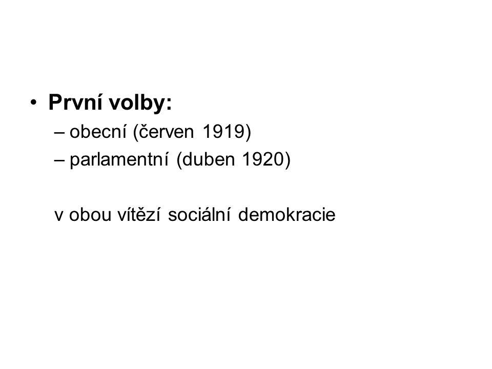 První volby: obecní (červen 1919) parlamentní (duben 1920)