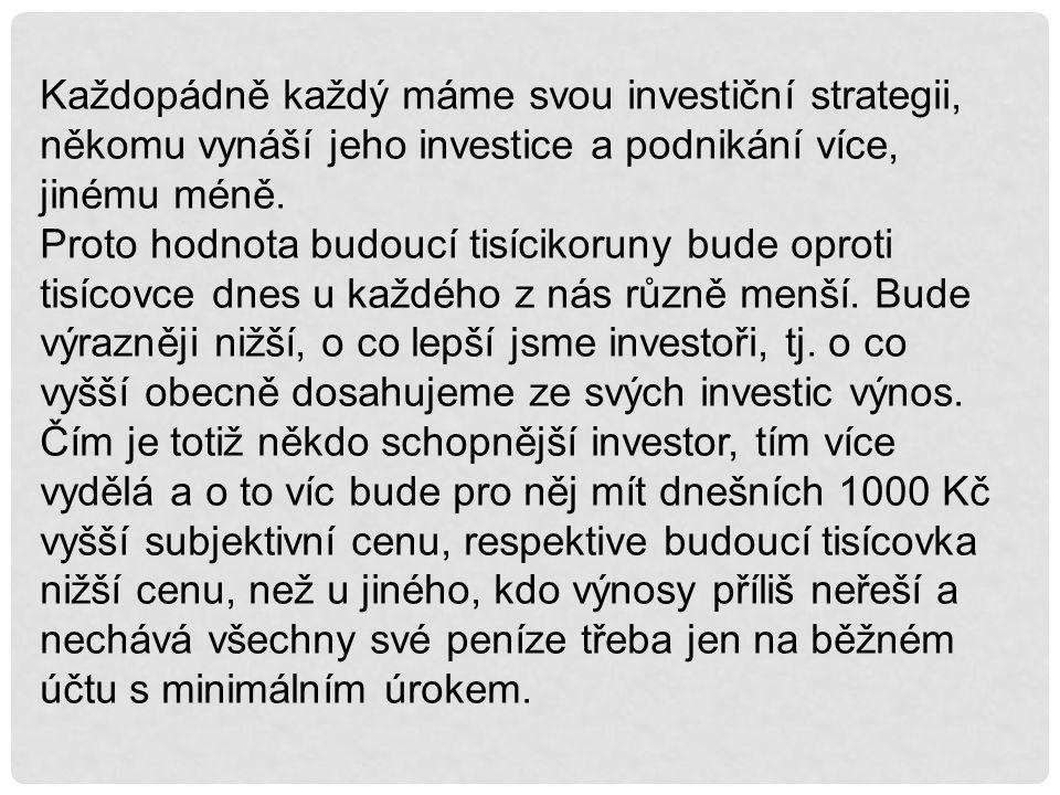 Každopádně každý máme svou investiční strategii, někomu vynáší jeho investice a podnikání více, jinému méně.