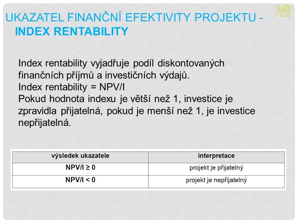 Ukazatel finanční efektivity projektu - Index rentability